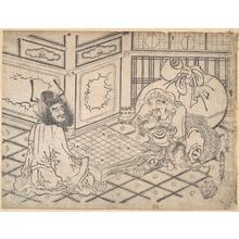 奥村利信: Daikoku and Shoki Playing Chess - メトロポリタン美術館