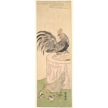 Utagawa Toyoharu: Cock, Hen, and Chickens - Metropolitan Museum of Art