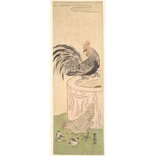 歌川豊春: Cock, Hen, and Chickens - メトロポリタン美術館