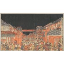 歌川豊春: Sakaichô Fukiyachô Kaomise Yoshibai no Zu - メトロポリタン美術館
