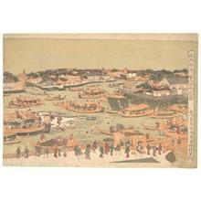 歌川豊春: New Great Bridge at Naka Zu in Edo - メトロポリタン美術館