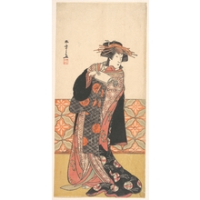 Katsukawa Shunsho: Nakamura Riko as Richly Clad Courtesan Standing in a Room - Metropolitan Museum of Art
