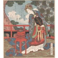 Yashima Gakutei: Lady with Fan Standing on Verandah - Metropolitan Museum of Art