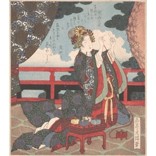 Yashima Gakutei: Lady Threading Needle on Verandah - Metropolitan Museum of Art