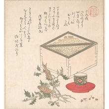 Kubo Shunman: Green Peas in a Measure and Sprays of Hollyhock with Heads of Sardines; Symbols Representing the Ceremony of Exorcising Demons - Metropolitan Museum of Art