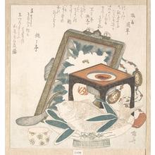 柳々居辰斎: Framed Painting, Small Stand with a Wine Cup and a Dish with a Fish - メトロポリタン美術館