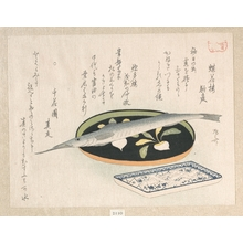 Ryuryukyo Shinsai: Halfbeak on a Lacquer Tray and White Baits on a Dish - Metropolitan Museum of Art