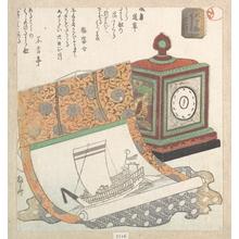 柳々居辰斎: Table-Clock and Kakemono of a Treasure Boat - メトロポリタン美術館