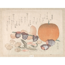 柳々居辰斎: Orange, Dried Persimmons, Herring-Roe and Different Nuts; Food Used for the Celebration of the New Year - メトロポリタン美術館