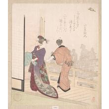 柳川重信: Scene on the Veranda of a Teahouse - メトロポリタン美術館