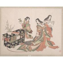 窪俊満: Court Ladies Dragging a Cabinet along the Floor - メトロポリタン美術館