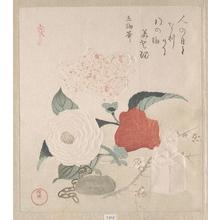 Kubo Shunman: Camellia Flowers, a Netsuke and a Seal - Metropolitan Museum of Art