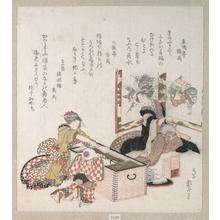 葛飾北斎: Women Preparing Tea Around the Fire-Holder - メトロポリタン美術館