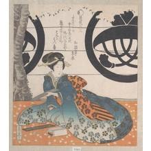屋島岳亭: Woman Seated Under a Cherry Tree About to Write a Poem on a Sheet of Paper for Poem Writing (Tanzaku) - メトロポリタン美術館