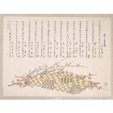 窪俊満: Plum Branches with Flowers and a Rolled Mat - メトロポリタン美術館