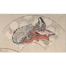 屋島岳亭: Poetess Ono no Komachi on the Point of Writing a Poem - メトロポリタン美術館
