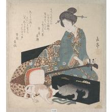 Yashima Gakutei: Woman Tuning a Shamisen - Metropolitan Museum of Art