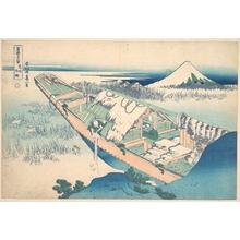 葛飾北斎: Ushibori in Hitachi Province (Jôshû Ushibori), from the series Thirty-six Views of Mount Fuji (Fugaku sanjûrokkei) - メトロポリタン美術館