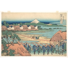 葛飾北斎: Fuji Seen in the Distance from Senju Pleasure Quarter (Senju kagai yori chôbô no Fuji), from the series Thirty-six Views of Mount Fuji (Fugaku sanjûrokkei) - メトロポリタン美術館