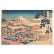 葛飾北斎: Fuji from the Katakura Tea Fields in Suruga (Sunshû Katakura chaen no Fuji), from the series Thirty-six Views of Mount Fuji (Fugaku sanjûrokkei) - メトロポリタン美術館