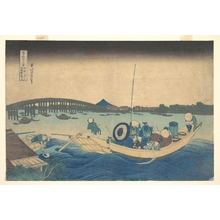葛飾北斎: Viewing the Sunset over Ryôgoku Bridge from the Onmayagashi Embankment (Onmayagashi yori Ryôgokubashi sekiyô o miru), from the series Thirty-six Views of Mount Fuji (Fugaku sanjûrokkei) - メトロポリタン美術館