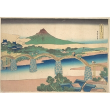 葛飾北斎: Kintai Bridge in Suô Province (Suô no kuni Kintaibashi), from the series Remarkable Views of Bridges in Various Provinces (Shokoku meikyô kiran) - メトロポリタン美術館