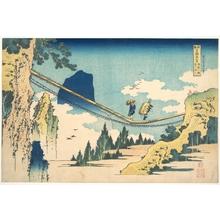 葛飾北斎: The Suspension Bridge on the Border of Hida and Etchû Provinces (Hietsu no sakai tsuribashi), from the series Remarkable Views of Bridges in Various Provinces (Shokoku meikyô kiran) - メトロポリタン美術館
