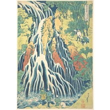 葛飾北斎: Kirifuri Waterfall at Kurokami Mountain in Shimotsuke (Shimotsuke Kurokamiyama Kirifuri no taki), from the series A Tour of Waterfalls in Various Provinces (Shokoku taki meguri) - メトロポリタン美術館