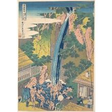 葛飾北斎: Rôben Waterfall at Ôyama in Sagami Province (Sôshû Ôyama Rôben no taki), from the series A Tour of Waterfalls in Various Provinces (Shokoku taki meguri) - メトロポリタン美術館