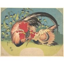 葛飾北斎: Rooster, Hen and Chicken with Spiderwort - メトロポリタン美術館