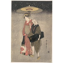 Kitagawa Utamaro: Geisha Walking through the Snow at Night - Metropolitan Museum of Art
