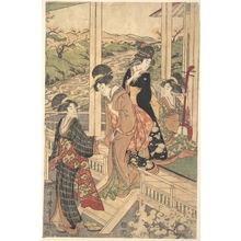Utamaro II: Group of Women on the Engawa of a Country House, in the time of the Cherry Blossoming - Metropolitan Museum of Art