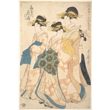 Utamaro II: The Oiran Hanaogi of Ogiya attended by Two Shinzo and Her Kamuro Yoshino - メトロポリタン美術館