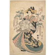 Utamaro II: A Courtesan with Wisteria on the Background - メトロポリタン美術館