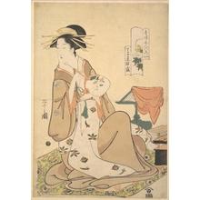 細田栄之: The Oiran Hinazuru of Chôjiya Holding a Round Fan (Uchiwa) - メトロポリタン美術館