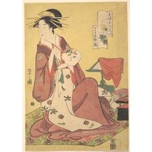細田栄之: The Courtesan Hinazuru of the Teahouse Chojiya (House of the Clove) - メトロポリタン美術館