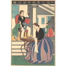 Utagawa Yoshikazu: Picture of a Foreigner Making Clothes - Metropolitan Museum of Art