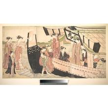 鳥居清長: Women Landing from a Pleasure Boat Drawn Up to the Shore at Mukojima on Sumida RIver, Edo - メトロポリタン美術館