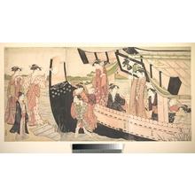 鳥居清長: Women Landing from a Pleasure Boat Drawn Up to the Shore at Mukojima on Sumida RIver, Edo - メトロポリタン美術館