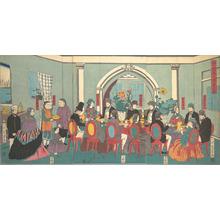 歌川芳員: Foreigners from the Five Nations Enjoying a Banquet - メトロポリタン美術館