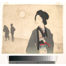 富岡英泉: Young Woman Looks at Silhouette of a Male Prisoner being Led Away - メトロポリタン美術館