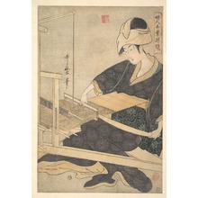 喜多川歌麿: A Woman Weaving, Seated at a Hand Loom - メトロポリタン美術館