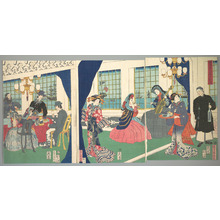 歌川貞秀: Foreigners in the Drawing Room of Foreign Merchant's House in Yokohama - メトロポリタン美術館