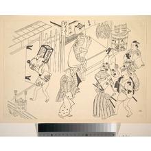 Okumura Masanobu: A Number of People in the Street Going about Various Affairs - Metropolitan Museum of Art