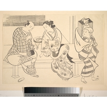 奥村政信: A Man Lighting His Pipe from that of A Young Woman who Sits Beside Him - メトロポリタン美術館