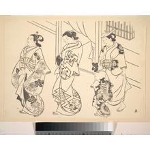 奥村政信: Three Courtesans and a Kamuro Strolling in the Street - メトロポリタン美術館