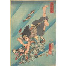 歌川国芳: Tanmeijirô Genshôgo Fighting Under Water - メトロポリタン美術館