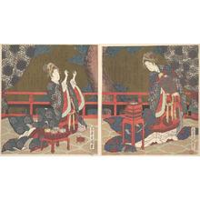 屋島岳亭: Two Ladies on a Verandah, One with Fan, the Other Threading a Needle - メトロポリタン美術館