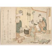 柳々居辰斎: Two Young Ladies Having Tea Attended by Elderly Servant - メトロポリタン美術館