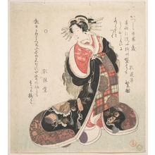 窪俊満: Courtesan Dressed in an Elaborate Gown Embroidered with Emblems of Good Luck - メトロポリタン美術館